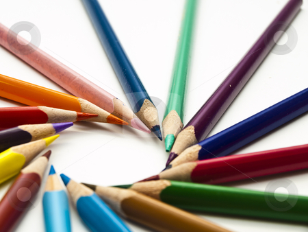 Color pencil stock photo, Circle of colored pencils with white isolation by romankunitski