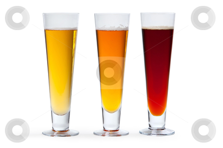 Three Beers stock photo, Three beers in glasses arranged from light to dark. by Glenn Price