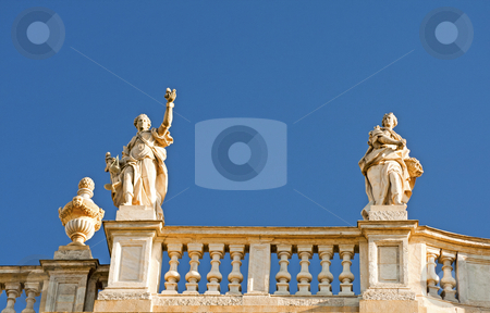 Statues stock photo, Two great statues at the side of a balaustrade by Fabio Alcini