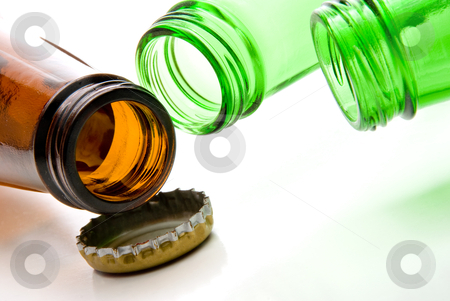 Beer Bottles stock photo, Green and brown Beer Bottles with a bottle cap. by Robert Byron