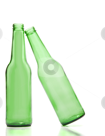 Beer Bottles stock photo, A pair of Beer Bottles one leaning on the other by Robert Byron