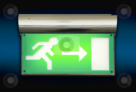 emergency exit sign. Emergency exit sign glowing