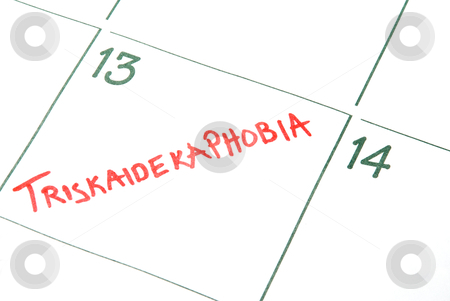 Triskaidekaphobia stock photo, A calendar entry on Friday the 13th for Triskaidekaphobia by Robert Byron