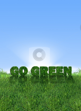 Go Green Energy stock photo, Textured go green sign over fresh grass. Clear blue sky background.  by Cienpies Design
