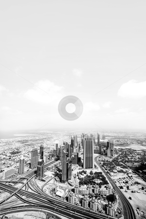 Dubai view stock photo, Black and white picture of the view over Dubai cityscape by Kjersti Jorgensen