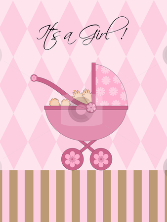 Its A Girl Pink Baby Pram  stock photo, Its A Girl Pink Baby Pram Carriage with Background Illustration by Thye Gn