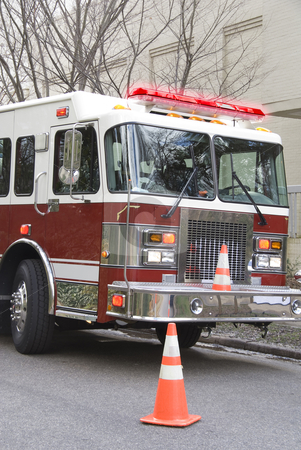 Firetruck stock photo, A Firetruck at the scene of an emergency by Robert Byron