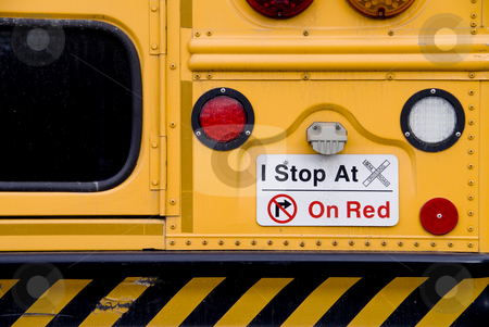 School Bus stock photo, A warning sign on the back of the schoolbus  by Robert Byron