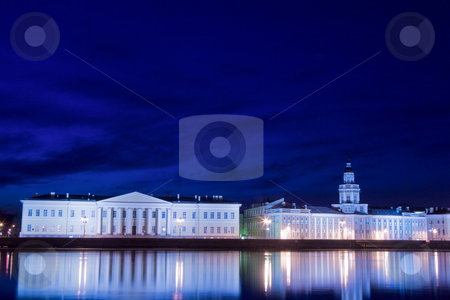 Night city stock photo, Night city lights over river Neva, St. Petersburg, Russia by Olga Sapegina