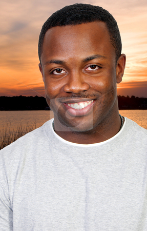 Black Man stock photo, An attractive handsome African American black man  by Robert Byron