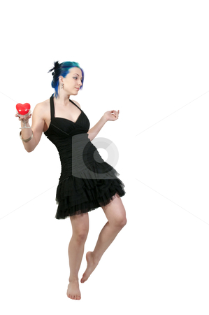 Valentines Day Heart Woman stock photo, A beautiful young woman holding a Valentines Day heart in a champagne glass by Robert Byron