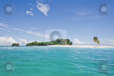 Deserted island stock photo, Desert island with palm trees on the sandbank by Pierre-Yves Babelon