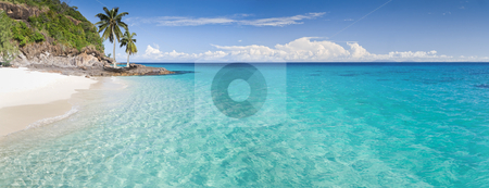 Deserted island stock photo, Desert island panorama with palm trees on the beach by Pierre-Yves Babelon