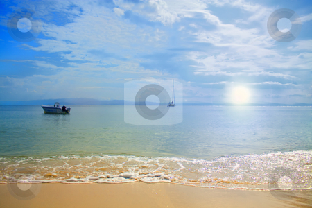 Serene Beach stock photo, Beautiful serene beach at sunset, calm sea. by Bagiuiani Kostas