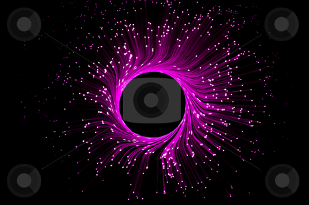 Pink telecommunications eclipse stock photo, Many dark pink illuminated fiber optic light strands in a ring formation against black. by Samantha Craddock