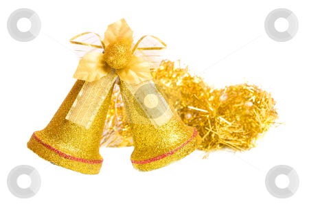 Christmas bells stock photo, Pair of Golden christmas bells isolated on white by Olga Sapegina