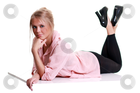 Portrait of a beautiful woman stock photo, Full length of a beautiful young lady in dress  by andersonrise
