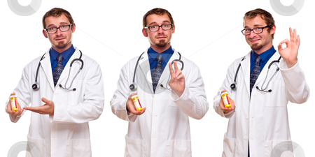 Set of Three Male Doctors with Prescription Bottle stock photo, Triple Set of the Same Male Doctor with Prescription Bottle Isolated on a White Background. by Andy Dean