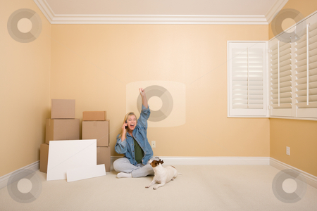 Excited Woman on Phone Near Boxes and Blank Signs stock photo, Pretty Woman on the Floor Using Phone Celebrating with Moving Boxes, Blank Signs and Dog in Empty Room. by Andy Dean