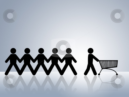 Shopping cart stock photo, paper chain figures with one pushing empty shopping cart concept for online shopping or internet shop by Dirk Ercken