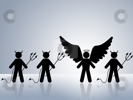 Angel amoung devils stock photo, angel surrounded by devils trying to bring evil to world by Dirk Ercken