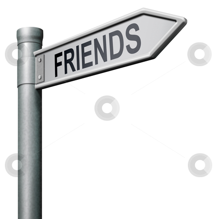 Find friends stock photo, friends search find online friend road sign arrow indicating way in social network by Dirk Ercken