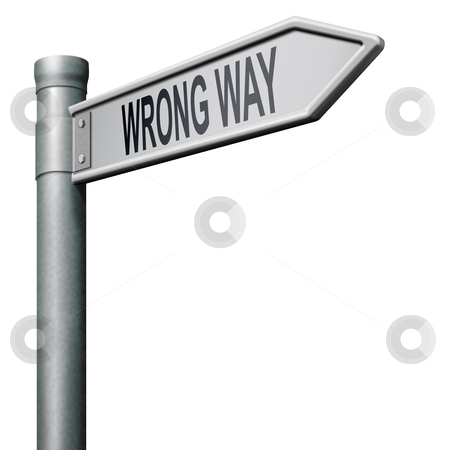 Wrong way stock photo, road sign arrow indicating wrong way making a mistake by Dirk Ercken