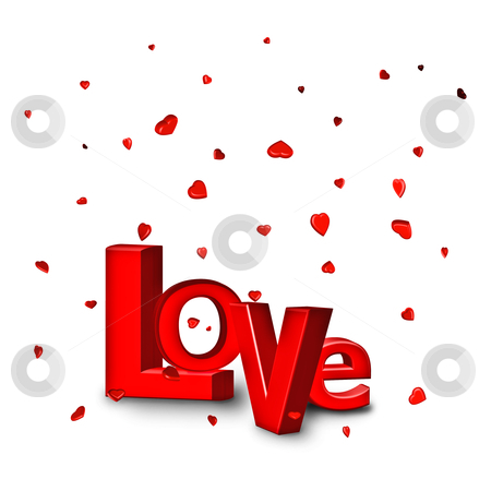 Love stock photo, love written in 3d with flying red hearts by Dirk Ercken