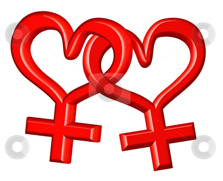 Gender signs lesbian couple stock photo, gender sign lesbian couple in love red love hearts bounded concept for valentines day by Dirk Ercken