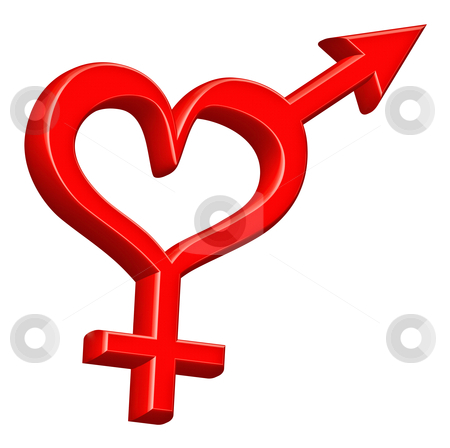 Gender sign heterosexual couple stock photo, gender symbol heterosexual couple bounded by red heart love hearts happy valentines day by Dirk Ercken