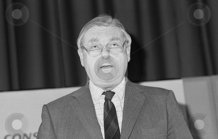 Sir Patrick Mayhew stock photo, Sir Patrick Mayhew, Attorney General and Conservative party Member of Parliament for Tunbridge Wells, speaks at a conference in London on December 1, 1990. by newsfocus1