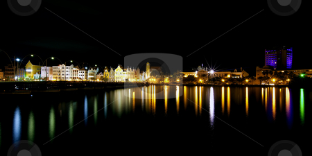 Willemstad stock photo, Nighttime panorama picture of Willemstad city, Curacao by Kjersti Jorgensen