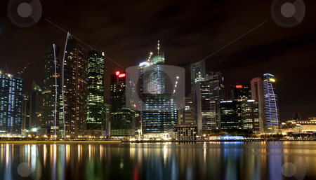 Singapore skyline stock photo, Night scene of financial district,Singapore. From the river. by Kjersti Jorgensen