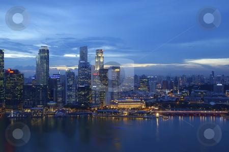 Singapore skyline stock photo, Night scene of financial district, Singapore From the river by Kjersti Jorgensen