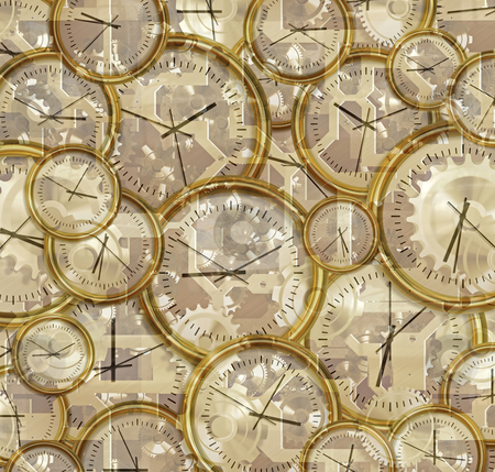 Time passing clocks and gears stock photo, abstract illustration of clocks, clockwork, gears and cogs by Phil Morley