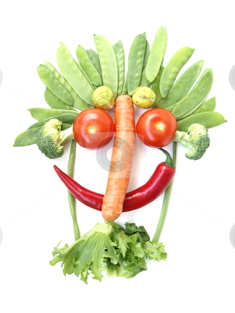 Vegetable Face stock photo, a funny vegetable face  by Lars Kastilan