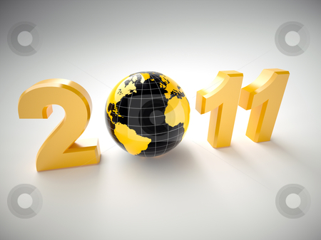 3d new year 2011 illustration stock photo, New year 2011 illustration with 3d globe by Christophe Rolland