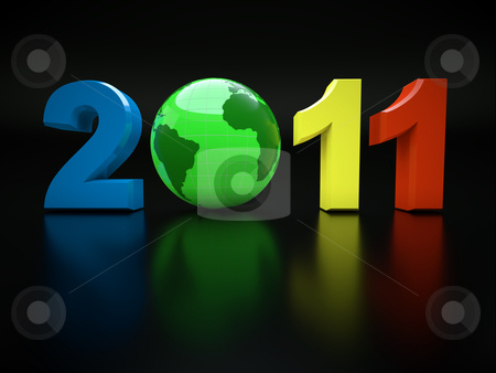 3d new year 2011 illustration stock photo, New year 2011. illustration with 3d globe by Christophe Rolland