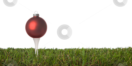Golf ornament stock photo, christmas golf-ball isolated on a white background .with plenty of copy-space by twixx