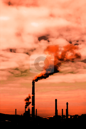 Global warming stock photo, Global warming concept.Smoke rising from factory by borojoint