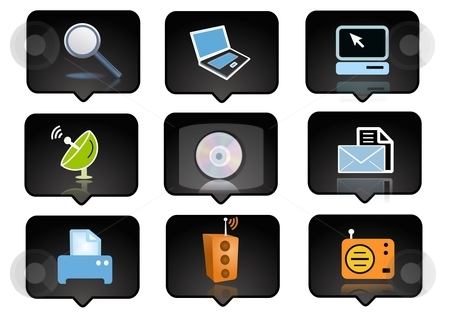 Computer icons set 1 stock photo, computer icons set  over the black background - digitaly generated by Stelian Ion
