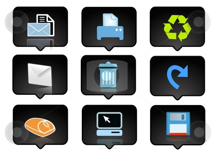 Computer icons set 4 stock photo, computer icons set  over the black background - digitaly generated by Stelian Ion