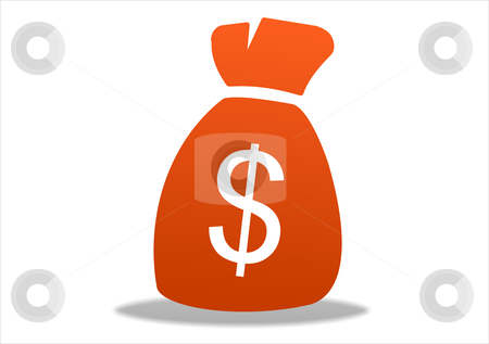 Dollar icon stock photo, 3d white dollar icon symbol - orange series by Stelian Ion