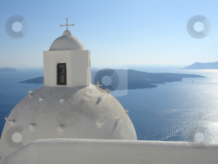 Church stock photo, church over a blue background - santorini, greece architecture by Stelian Ion