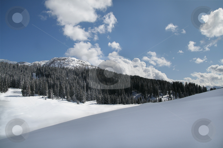 Snow scene panorama stock photo, Snow scene panorama of winter mountains by Stelian Ion