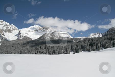 Snow scene panorama stock photo, Snow scene panorama of winter mountains by Stelian Ion