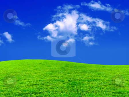 New desktop wallpaper stock photo, new desktop wallpaper - beautiful meadow and blue sky by Stelian Ion