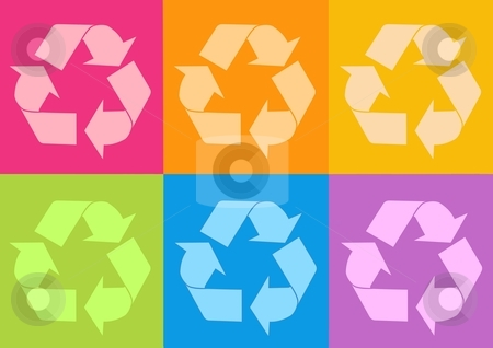 Recycle icon stock photo, 3d recycle icon - computer generated clipart by Stelian Ion