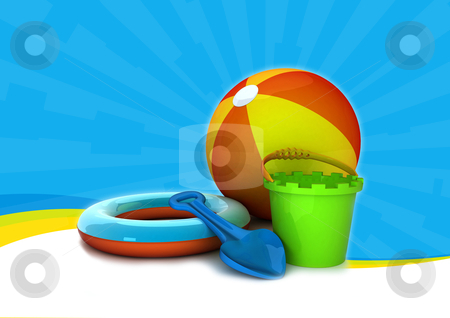 On the beach stock photo, background illustration of summer equipment like bucket and spade by Sabino Parente