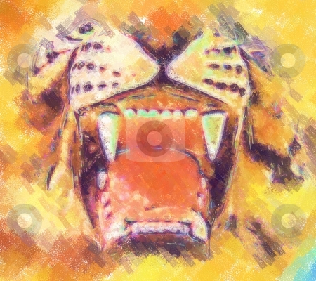 Tiger painting stock photo, 2d picture painting - computer generated illustration by Stelian Ion